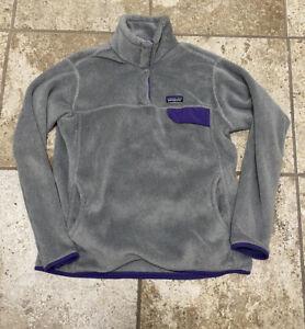 Women's PATAGONIA Re-Tool Snap-T FLEECE PULLOVER Gray/Purple sz XL