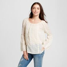 Knox Rose Women's Size XS Peasant Ivory Sheer Embroidered Long Bell Sleeve Top
