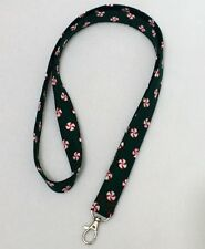 """Fabric Lanyard ID Badge Key Holder 42 x 3/4"""" Cotton Christmas Peppermint Candy"""