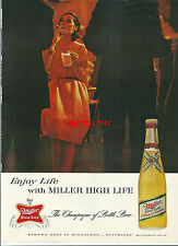 Publicité 1965 Champagne OF beer MILLER HIGH LIFE alcool  réclame advertising