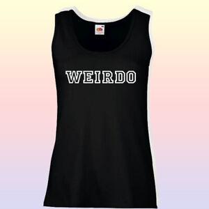 Ladies Vest Top Tank T-Shirt Slogan Weirdo Womens Fitness Gym Workout Boho Yoga