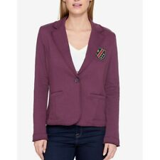 TOMMY HILFIGER Womens Blue & Burgundy Patched One-button...