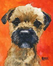Border Terrier Dog Art Print Signed by Artist Ron Krajewski 8x10