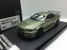 1:43 HPI 8801 NISSAN SKYLINE R34 GTR NISMO Z TUNE MIL JADE resin scale model car