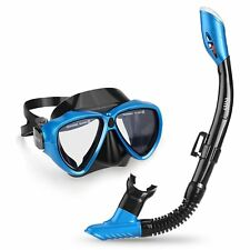 INTEY Snorkel Set with Tempered Glass Diving Mask, with Purge Valve and Anti-Fog