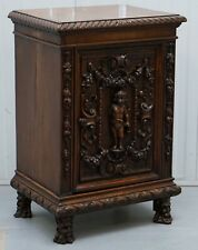 STUNNING CIRCA 1780 CARVED WALNUT SIDE CABINET WITH CHERUB & FLORAL DETAILING