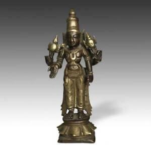 VERY RARE ANTIQUE BRASS PILGRIMAGE ALTAR VISHNU INDIA HINDUISM 18TH CENTURY