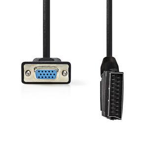 SCART VGA-Kabel Stecker Buchse Adapter PC TV Fernseher Scartkabel 2m Computer