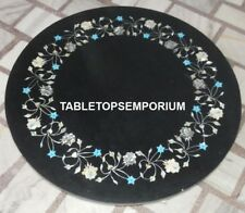 "18"" Black Marble Kitchen Table Floral Gorgeous Work Patio Outdoor Decor H4400"