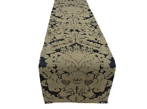 """75"""" Black/Antique Gold Silk Damask designer table runner Handmade UK"""