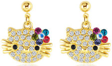 Hello Kitty Cat 18k Yellow Gold Austrian Crystal Dangle Multi color Earrings