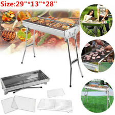 "29"" Barbecue Charcoal Grill Stove Shish Kabob Stainless Steel BBQ Patio Camping"