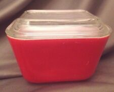 PYREX 1950s Red Oven- Refrigerator #501 25 Bake Store Dish SET Lid Cover 1.5 Cup