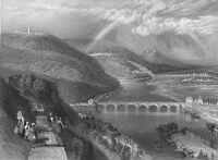 France, SAINT CLOUD SEINE RIVER BRIDGE ~ Old 1837 LANDSCAPE Art Print Engraving