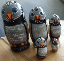 "Wood Russian Hand Painted Nesting Doll Owl 5 Pcs 4.5"" inches"