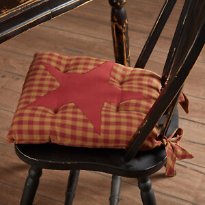 VHC Brands Primitive 15 in Chair Pad Red Appliqued Burgundy Kitchen Table Decor