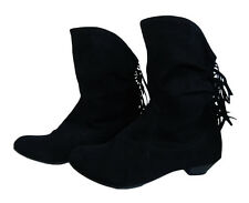 BLACK ANKLE BOOTS WITH FEATURE FRILLS ON THE BACK. SIZE 6 & 8.
