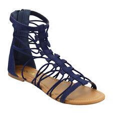 Women's T-strap Elastic Lace Back Zipper Flat Sandal DARK BLUE DENIM Size 7