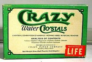 CIRCA 1940 CRAZY WATER CRYSTALS MINERAL WELLS TEXAS BOX WITH CONTENTS