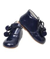 Baby Girls Patent Faux Leather Lace Up Formal Boots Bridesmaid Wedding Shoes