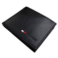 New Tommy Hilfiger Men's Black Leather Billfold Credit Card Coin Pocket Wallet