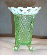 "5"" Imperial Glass Green Depression FOOTED OPALESCENT Lace Rim VASE Vasaline Vtg"