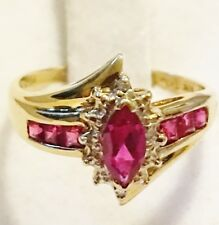 Created Ruby Marquise & Diamond Halo Ring Solid 10K Yellow Gold Size 6.5