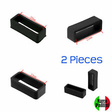20 22 24 Black Silicone Strap Band Retainers Holder Loop Keepers 2 Pieces