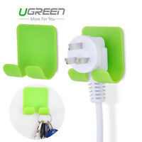 Ugreen 2pcs Adhesive ABS Stick Wall Holder Hanger Power Plug Cable Key Hat Hook