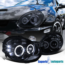 For 2003-2005 Dodge Neon LED Dual Halo Projector Smoked Headlight Glossy Black