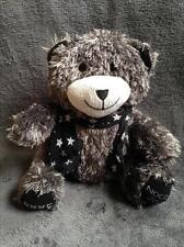 58- Peluche doudou ours gris-IKKS Nocibé 2009-Foulard étoiles-Comme neuf-2 dispo