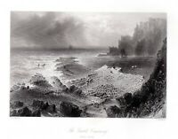 GIANTS CAUSEWAY, CO. ANTRIM  IRELAND Antique Engraving 1840 FREEPOST