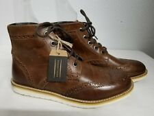 CREVO MEN'S BOARDWALK WINGTIP LEATHER ANKLE BOOTS SHOES BROWN SIZE 8 NEW!