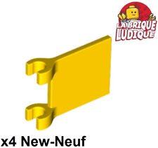 Lego - 4x Flag drapeau 2x2 jaune/yellow 2335 NEUF
