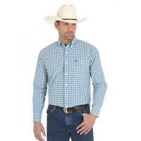 WRANGLER Mens George Strait Blue Green White Plaid Long Sleeve Shirt MGSG203 NWT
