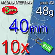 10x 40mm ROUND BASE 3mm CLEAR ACRYLIC REDONDA METACRILATO TRANSPARENT SOCLE ROND