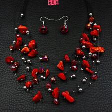 Betsey Johnson Fashion Jewelry Charming Gemstone Choker Necklace Earrings Set