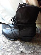 John fluevog womens Soft leather boots luana Sz7 chocolat brown cowboy western