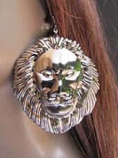 """WOMEN FASHION PEWTER METAL EARRINGS SET 3""""/3"""" HUGE LION HEAD BIG CIECLE 3"""" DROP"""