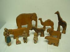 11 PCS ANTIQUE MADE IN WEST GERMANY TOY WOOD BLOCK ZOO ANIMALS & FAMILY
