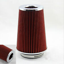 "3"" Inlet Car Long Ram Cold Air Intake Filter Cone Filter Red KN Types For Nissan"