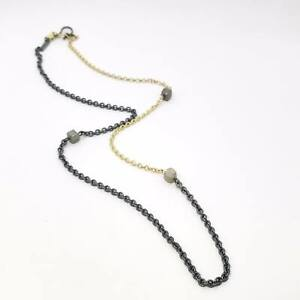 """Todd Reed 20 """" gold and silver mixed metal raw diamond station necklace $3660"""