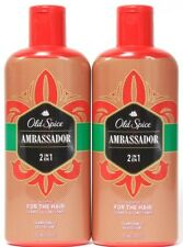 2 Old Spice Ambassador 2in1 For The Hair Shampoo Conditioner Smooth Clean 12 oz