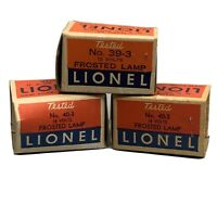 Vintage Lionel Trains Frosted Lamp No. 40-3 (2) No. 39-3 (1 Empty Box)