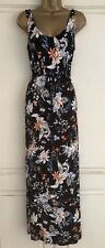 NEW EX MARKS & SPENCER BLACK IVORY PEACH BLUE FLORAL MAXI SUN DRESS SIZE 8 - 20