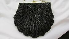Shell Shaped Micro Beaded Evening Bag with Concealable Long Metal Cord Handle