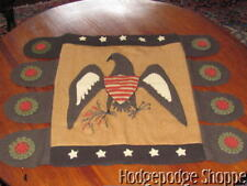 NEW ~ Folk Art Handmade Wool Eagle Patriotic Penny Table Runner, Rug, Candle Mat
