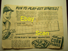 1949 Kellogg's Baseball Game Premium Ring Original Paperwork Scarce