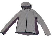 Nike Dri-Fit Full Zip Hooded Fleece Lined Jacket Girls Large Striped Thumb Holes