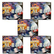 5 MAXELL CD-RW80 XLII AUDIO MUSICA RISCRIVIBILI 80Min JEWEL CASE-MX-RW80 - XLII